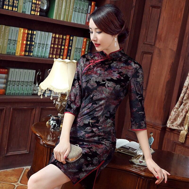2016 ใหม่มาถึงกำมะหยี่สามชุด cheongsam vintage แฟชั่น plus ยืดหยุ่นจีนแบบดั้งเดิม d-ใน ชุดเดรส จาก เสื้อผ้าสตรี บน   3