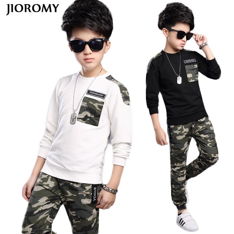 Boys Tracksuit 2018 Spring Children Clothing Sets Cotton T-Shirt + Camouflage Pants 2 Pcs Sport Suit Boy Clothes Set Costumes free shipping children clothing spring girl three dimensional embroidery 100% cotton suit long sleeve t shirt pants