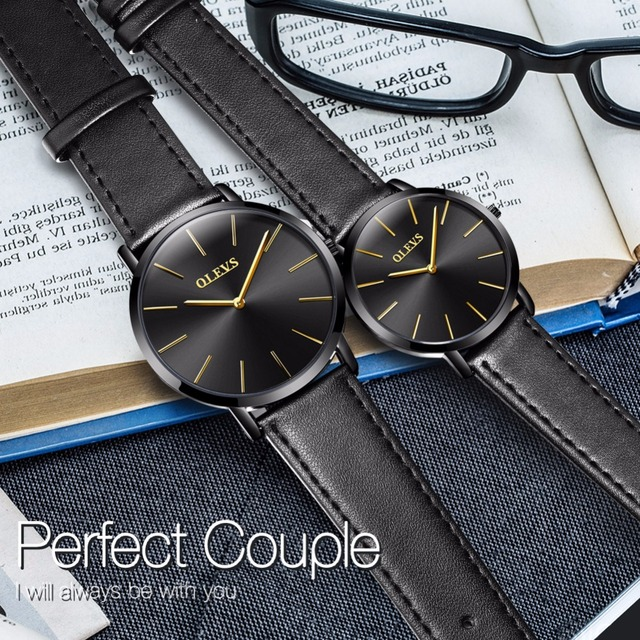 OLEVS Couple Watches for Lovers Leather Casual Japan movement Quartz Ultra thin