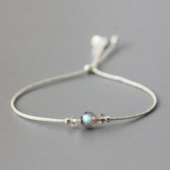 3459668ab428 Pulsera de piedra de luna hecha a mano cuerda fina con cristal Natural  cuentas de plata de ley 925 pulseras personalizadas para mujeres