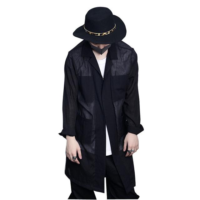 Primavera Verano Nuevos Hombres Capa de Foso larga de Lino de Algodón Estilo Casual Moda Masculina Delgada Zanja Outwear Chaqueta Para Hombre Hiphop Floja