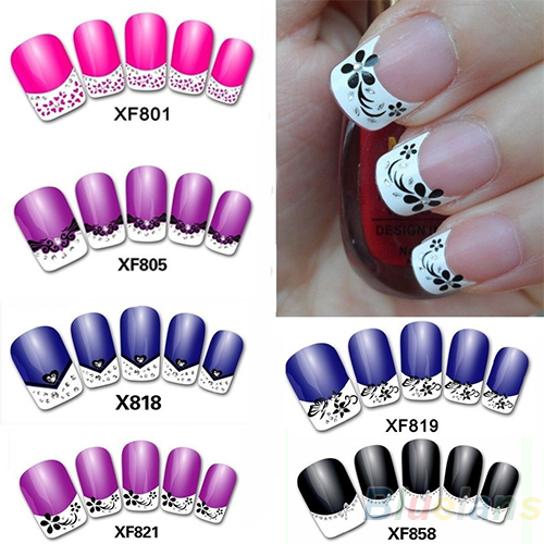 2017 New Fashion French Manicure 3D Nail Art DIY Stickers Tips Decal Nail Decoration AS9 10pcs pack 2mm mix colors rolls metallic adhesive striping tape wide line diy nail art tips strip sticker decal decoration kit