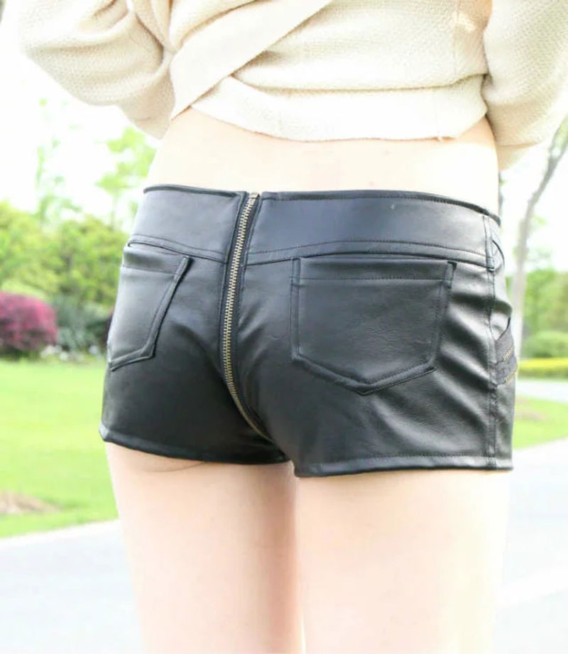 Women's PU Zipper Open Cortch Booty Short  Vintage Cute Bikini Low Rise Waist  Micro Mini Short Night  Culb Wear FX1052