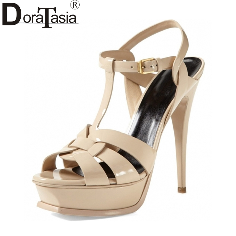 DoraTasia brand shoes women size 33-40 13.5cm heels platform women shoes super thin high heels sexy party wedding sandals black classic black plus size 15cm super high heel shoes platform sandals slippers pole dance shoes wedding shoes