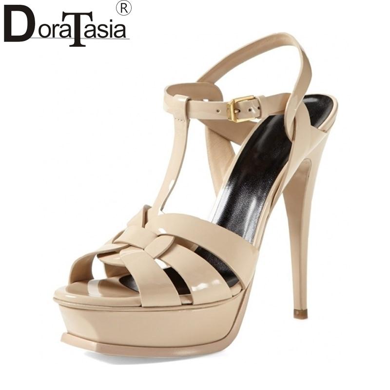 DoraTasia brand shoes women size 33-40 13.5cm heels platform women shoes super thin high heels sexy party wedding sandals black fashion super 16cm heels sexy platform women shoes high heels brand new thin heels party wedding shoes women pumps