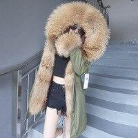 Luxury Coat real fur parka winter jacket women long coat real fox fur lining detachable big natural raccoon fur collar hood