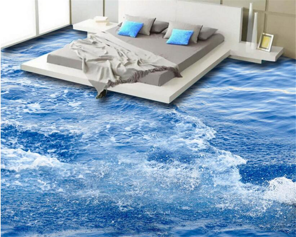beibehang Advanced fashion aesthetic pvc papel de parede 3d wallpaper Aesthetic beautiful water waves mural background 3D floor papel de parede 3d paisagem ретро мультфильм автомобилей mural обои ktv бар кафе личности creative 3d настенной росписи стен