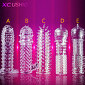 Silicone Reusable Condoms Time Delay Crystal Penis Rings Male Penis Extension Sleeves Cock Rings Adult Sex Toys for Men 5 Types