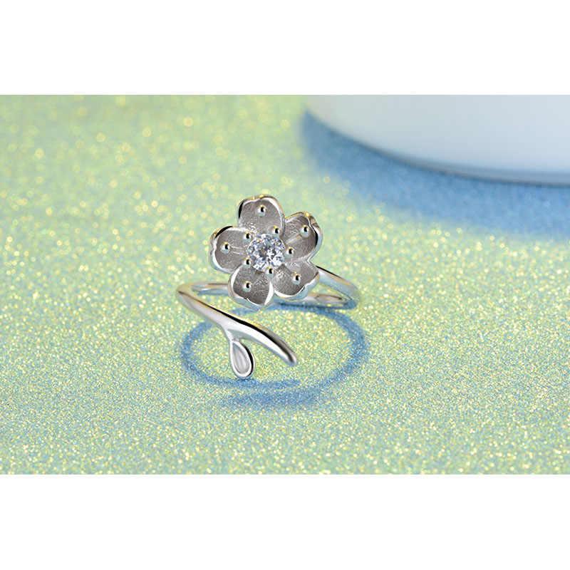 Vintage 925 en argent Sterling fleur anneaux pour les femmes fête bijoux ouverture bague de mariage accessoire