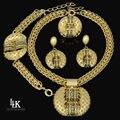 2016 última moda African Jewelry Set Sparkling oro amarillo lleno Dubai grandes aretes collar de la boda establece para mujeres
