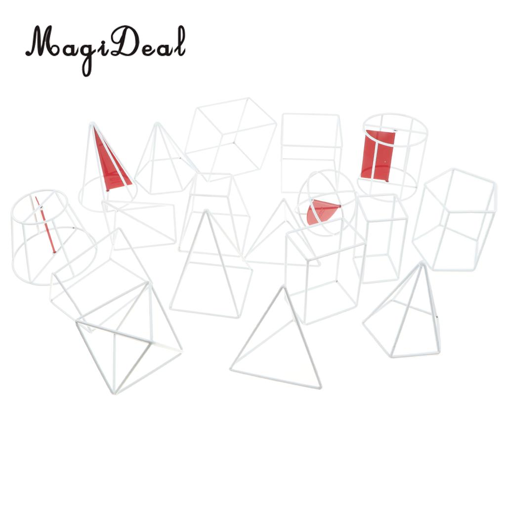18 pieces/set 3D Spatial Visualization Geometric Solid Model - High School Math Geometry Visual Aids Teaching Tools Learning Toy