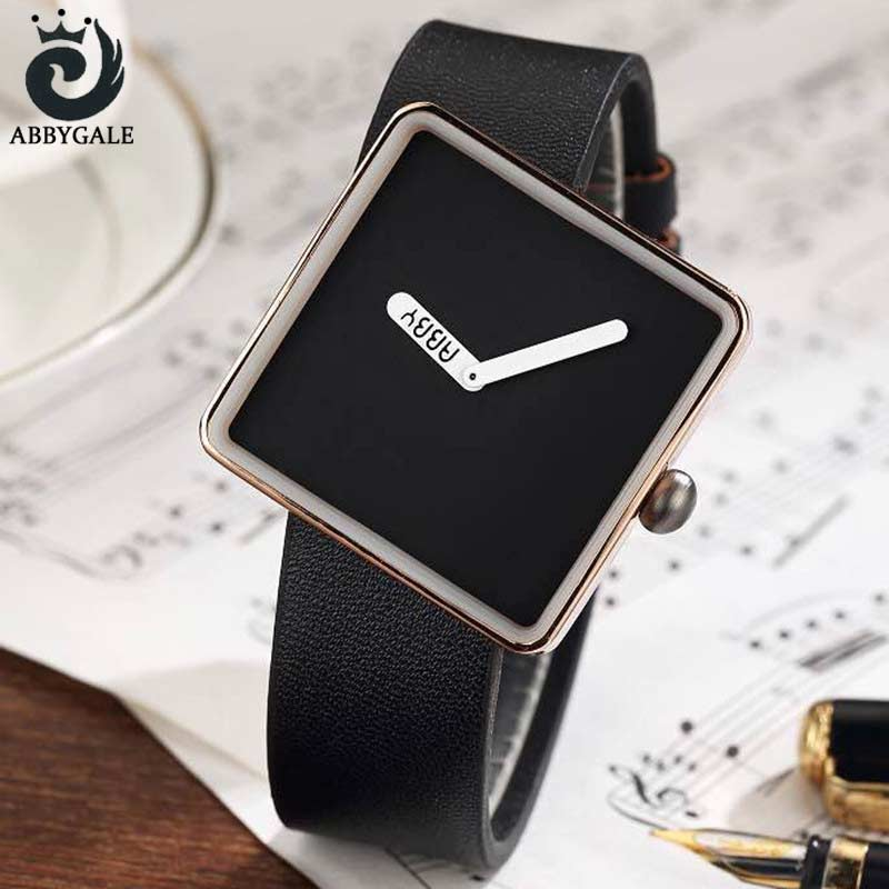 ABBYGALE Brand Extreme Minimalist Ladies Wrist Watches Womens Dress 2017 Simple Square Luxury Quartz Creative Clock For Womans