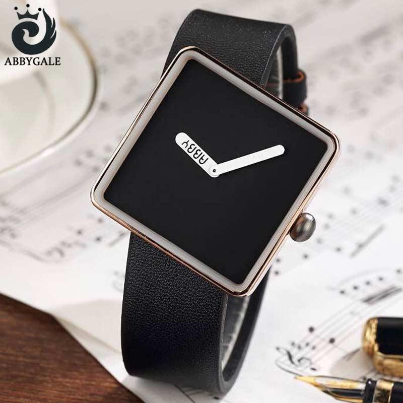 ABBYGALE Brand Extreme Minimalist Ladies Wrist Watches Womens Dress 2017 Simple Square Luxury Quartz Creative Clock For Womans