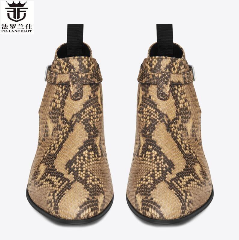 2019 FR. LANCELOT new arrival wężowej druku botki prawdziwej skóry buty chelsea drukuj kostki buty mężczyźni moda jesień buty w Buty sztyblety od Buty na  Grupa 3