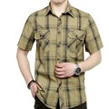 European casual style 2015 big size M- 5XL obesity men's summer 100% pure cotton plaid loose short sleeve shirts man khaki tops