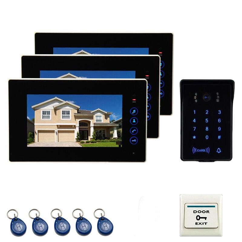 JEX 7 pouce LCD Couleur Interphone Vidéo Porte Téléphone Interphone système Kit 2 Moniteurs + 700TVL Étanche Mot de Passe Clavier RFID Caméra 1V3