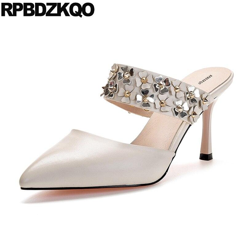 Bridal Shoes Wedding Rivet Stud Genuine Leather Mules Slipper 3 Inch Pointed Flower Thin High Heels Beige Pumps Sandals Women