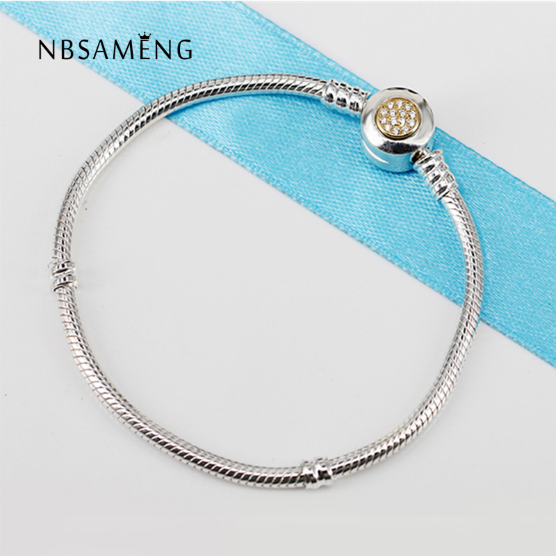 Authentic 925 Sterling Silver Moments Two Tone With Signature Clasp Clear CZ Snake Chain Bracelet Fit Pan Bangle DIY JewelryAuthentic 925 Sterling Silver Moments Two Tone With Signature Clasp Clear CZ Snake Chain Bracelet Fit Pan Bangle DIY Jewelry