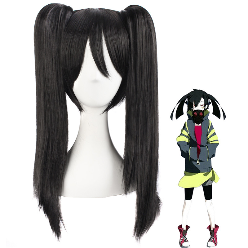 Kagerou Project Enomoto Takane Anime Costume Cosplay Straight Wig 50cm Black Long Wigs Halloween Party Ladies Clip Ponytail Hair