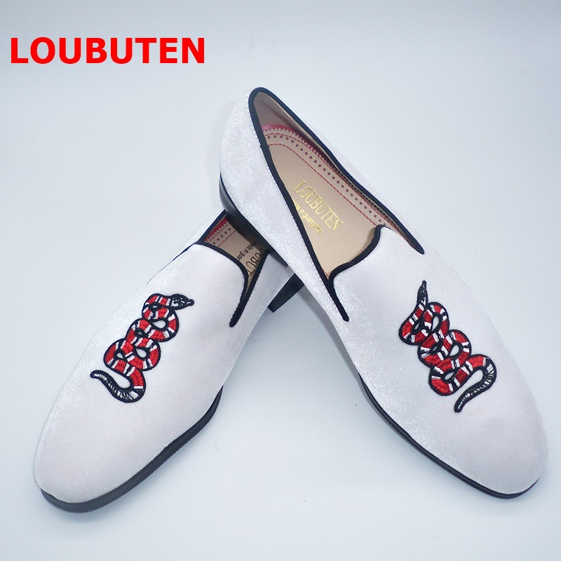 Mens Velvet Loafers Fashion Embroidery Snake White Shoes Men Handmade Slip On Party And Prom Shoes Plus Size Smoking Slippers
