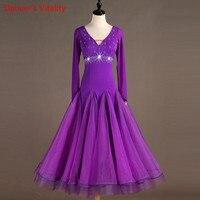 Professional custom made women V neck Ballroom Dress Dance Hall Diamond Dance Dress Waltz Modern Dance Tango Cha Cha Dress