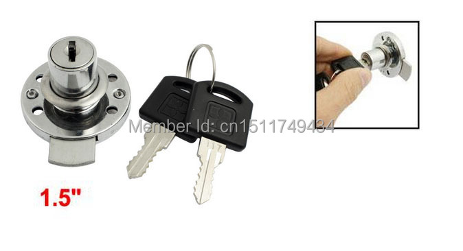 39mm Funiture Fitting Round Plate Glass Door Lock Silver Tone w Keys 2sets(China)