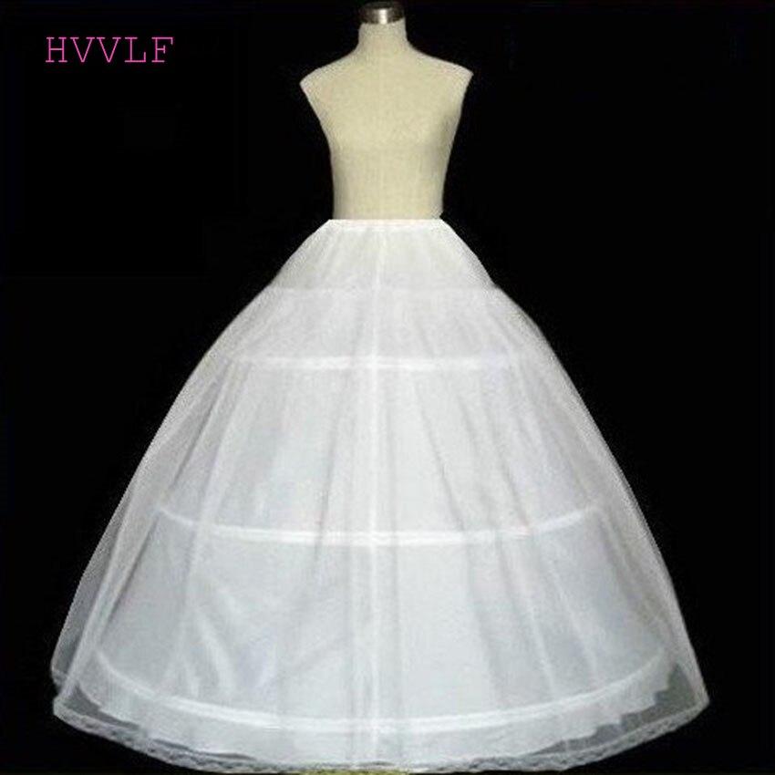 2019 Hot Sale 3 Hoops Bridal Petticoats White Cheap Wedding Ball Gowns Petticoat Crinoline