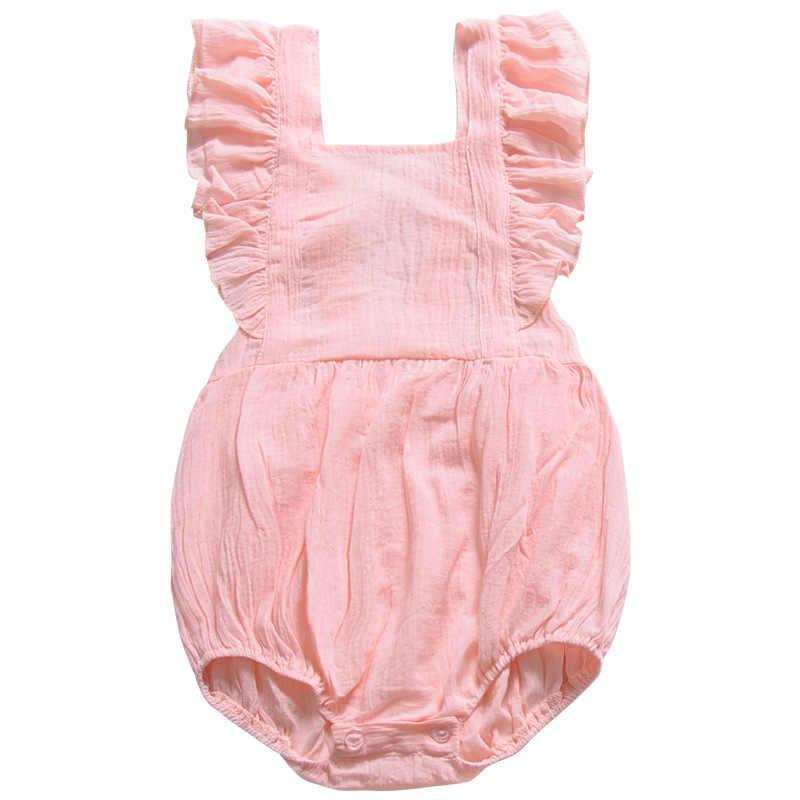Летний хлопковый комбинезон с рюшами для новорожденных девочек, льняная одежда с открытой спиной для маленьких девочек, однотонные комбинезоны, летний костюм