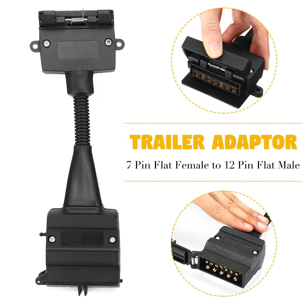 High Quality ABS Trailer Connector Plug Adaptor Connector Caravan Car Lorry Truck Plug Socket 7 Pin Female To 12 Pin Flat  Male
