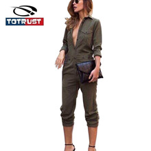 TOTRUST Army Green Long Sleeved Jumpsuit 2017 Female Siamese Trousers Elegant Romper Women Jumpsuit Casual Overalls For Women