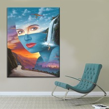 Home Decor Wall Picture Framework Or Frameless Canvas HD Print 1 Piece Natural Landscape Waterfall Abstract Woman Painting