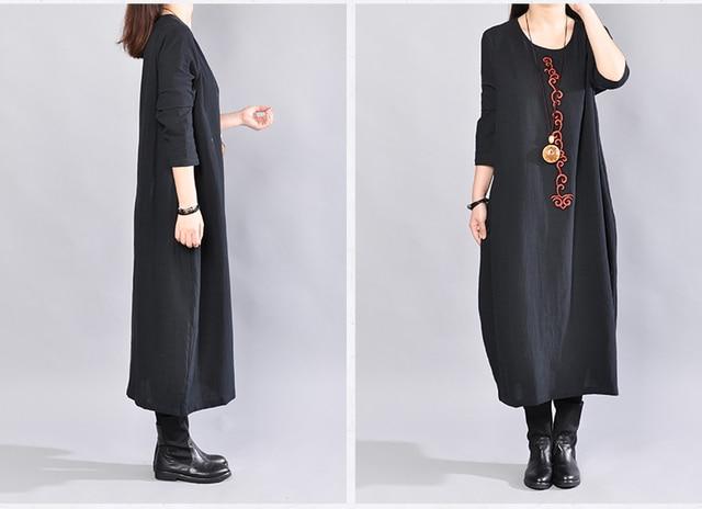 P Ammy  Cotton & Linen Plus Size Retro Plain Mid-Long Dress lagenlook  voguees Trend long shirts linen tunics 4