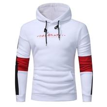 Men's Brand Winter Autumn Print Hoodie Patchwork Warm Hooded Sweatshirt White Coat Jacket Sportswear Outwear Hip Hop Pullover