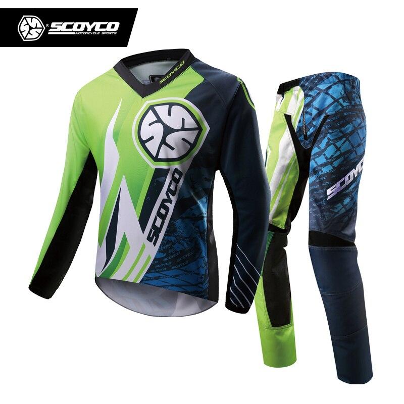 SCOYCO Professional Motocross Racing Jersey + Hip Pads Set Motocross Off Road Dirt Bike MTB DH MX Clothing