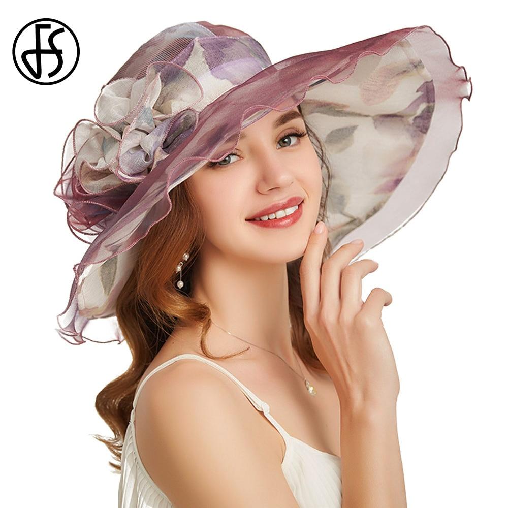 FS Purple Wide Brim Church Dress Kentucky Derby Hat For Women Organza Foldable Sun Hats Ladies Fedoras Purple Summer Visor Cap
