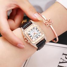Women Watch 2019 relogio feminino Luxury Ladies Dress Crystal Quartz Wristwatches Leather Strap Square Bracelet Rhinestone Watch