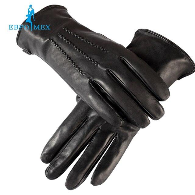 Venden bien Guantes hombres, Cuero genuino, de cuero guantes de los hombres, para hombre negro guantes, Caliente forrado, guantes de Cuero de los hombres, envío gratis
