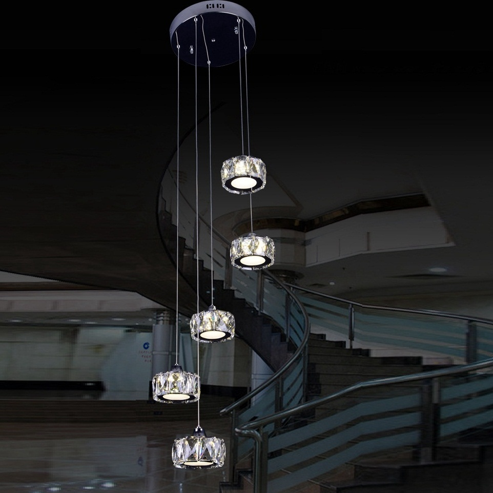 DHL/EMS/SPSR Loft Crystal Chandelier Modern Staircase LED Light for Loft Pendant Lamp Modern Lighting Fixtures 110V~240V dhl ems free shipping 12pcs lot 20w cree cob led track light for shops gallary lighting