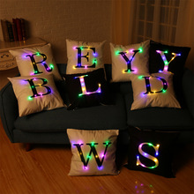 26 Letters LED Night Light Cushion Cover Black and White Pillow Case chair/ Sofa Creative Home Decor 45x45cm