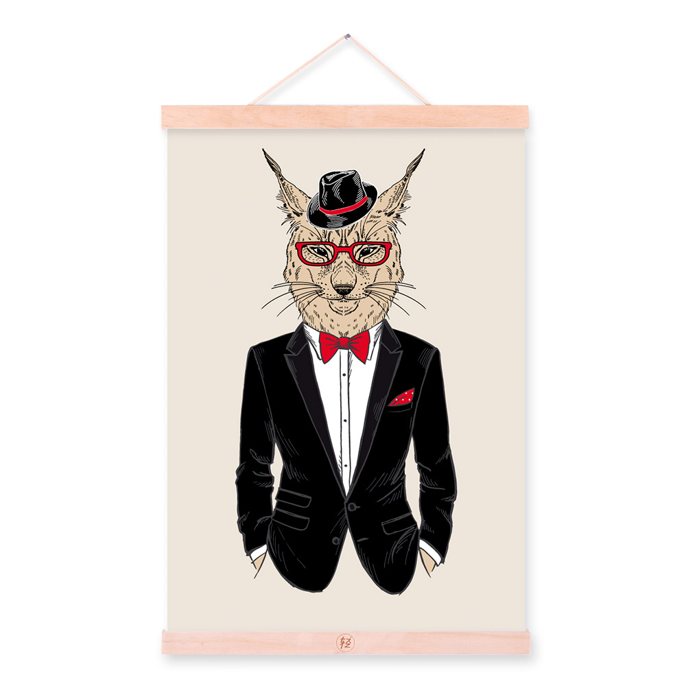 Lynx Modern Fashion Gentleman Animals Portrait Hipster A4 Canvas Painting Wall Art Print Picture Poster Office Home Decor