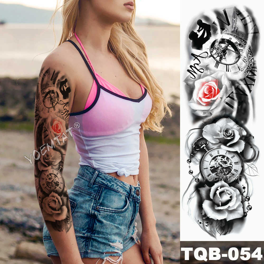 f6a3b03481ba4 ... Large Arm Sleeve Tattoo Flame Planet Moon Waterproof Temporary Tattoo  Sticker Burning Butterfly Skull Men Full ...