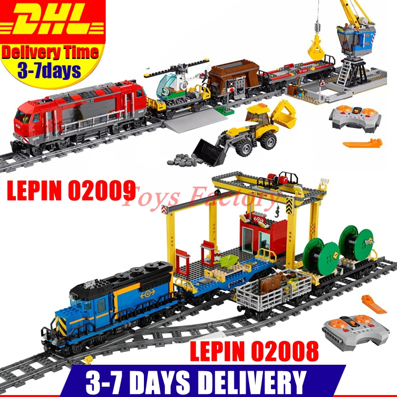 DHL LEPIN 02008 Cargo Train Set Building Blocks Bricks+ 02009 City Engineering Remote Control RC Train Clone 60098 60052 lepin 02008 the cargo train 959pcs city series legoingly 60052 plate sets building nano blocks bricks toys for boy gift