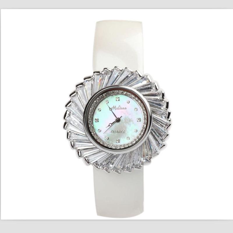купить Melissa Luxury Brand Jewelry Watches Women Sunflower Crystal Watch Natural Shell Quartz Wrist watch Leather Strap Montre Femme по цене 5261.65 рублей