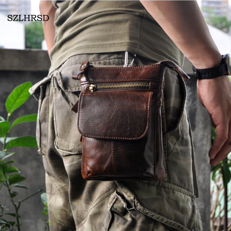for Caterpillar <font><b>Cat</b></font> <font><b>S61</b></font> S31 S41 S60 S30 S40 Retro oil wax Genuine leather 7 inch Universal Outdoor Waist Phone Bag Pouch Case image
