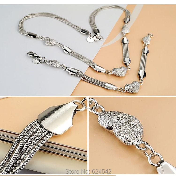 Ren silver Hjärthängen halsband för kvinnor; 925 sterling silver - Fina smycken - Foto 2