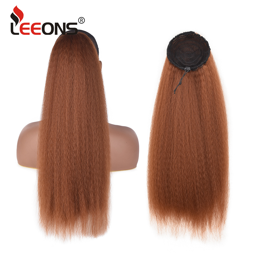 Leeons 100G  Kinky Straight Hair Afro Ponytail Puff 22 Inch Long Pony Tail Synthetic Natural Hair Ponytail Hairpieces For Women