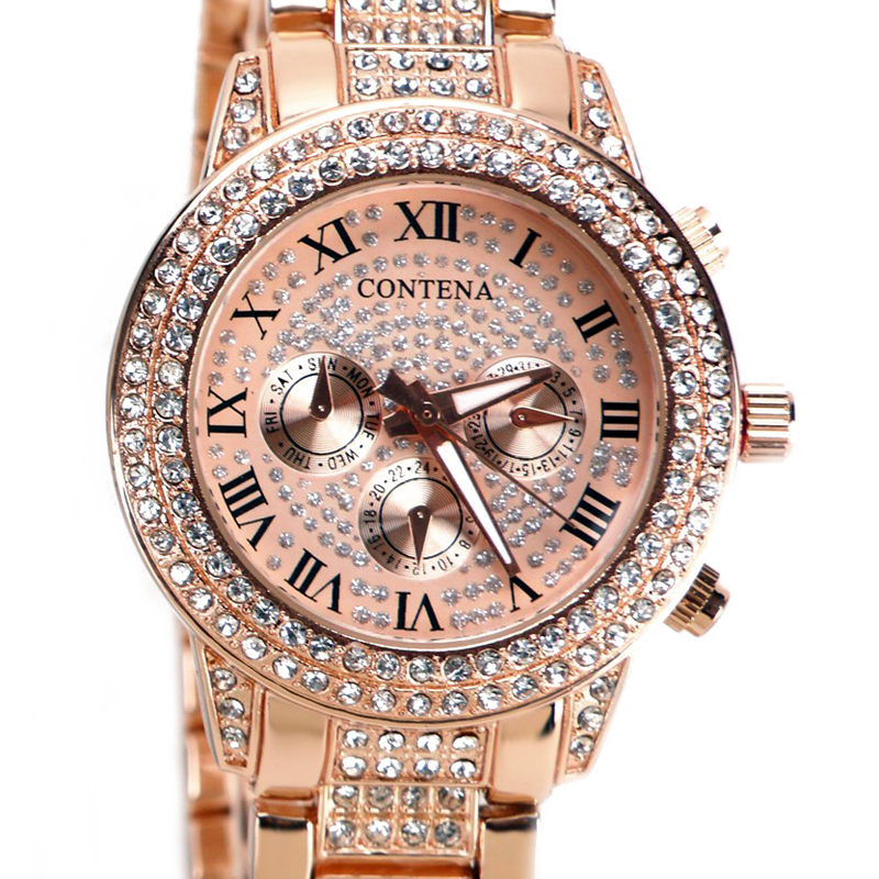 Prix pour Hot Or Rose Femmes Diamants Montre Célèbre Marque Élégant Quartz Robe Montres Dames Strass Montres Relogios Femininos