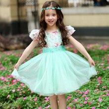 2-13 Лет девушки партия принцессы платье Летний стиль Puff коротким рукавом цветочные платья Балетной Пачки детской одежды Vestido infantil