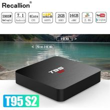 купить 2019 RECALLION T95S2 Android TV BOX 3D Android 7.1 Smart TV Box 2GB 16GB Amlogic S905W Quad Core 2.4GHz WiFi Set top box 1GB8GB дешево