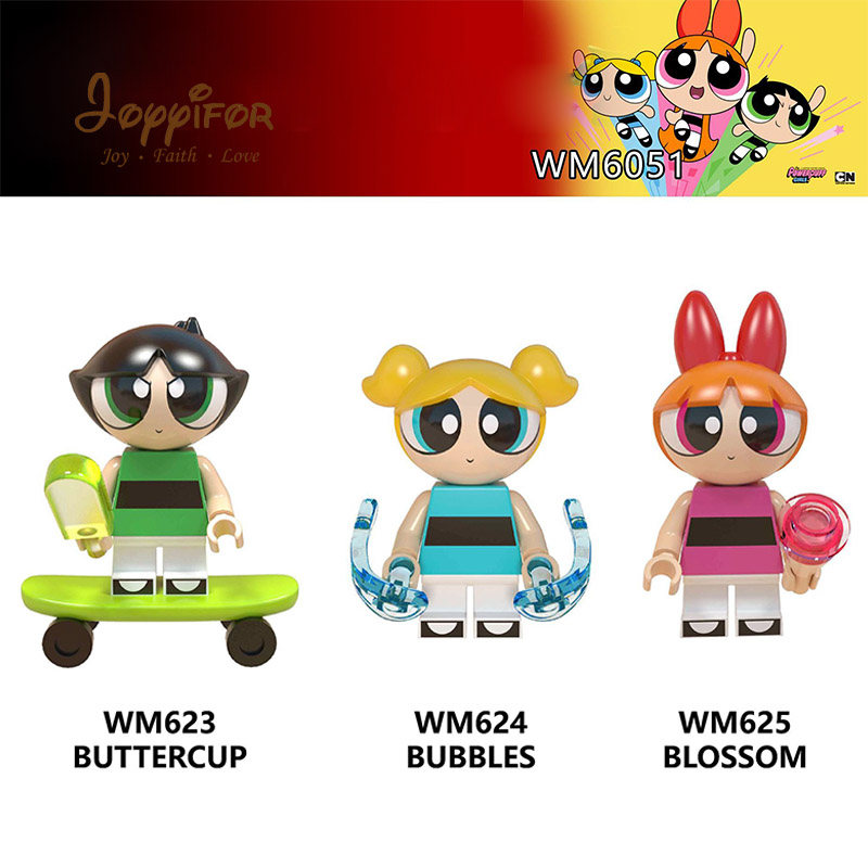 Model Building Cartoon Powerpuff Girls Skateboard Action Figure Building Blocks Legoinglys Bricks For Children Girls Friends Toys Gift Fancy Colours